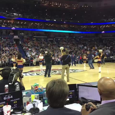 Will Ferrell hits cheerleader in the face in NBA match
