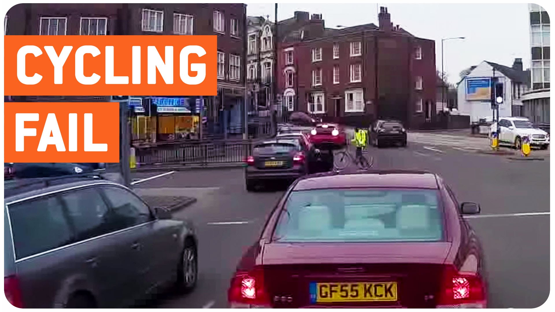 Cyclist passes red and hits car!