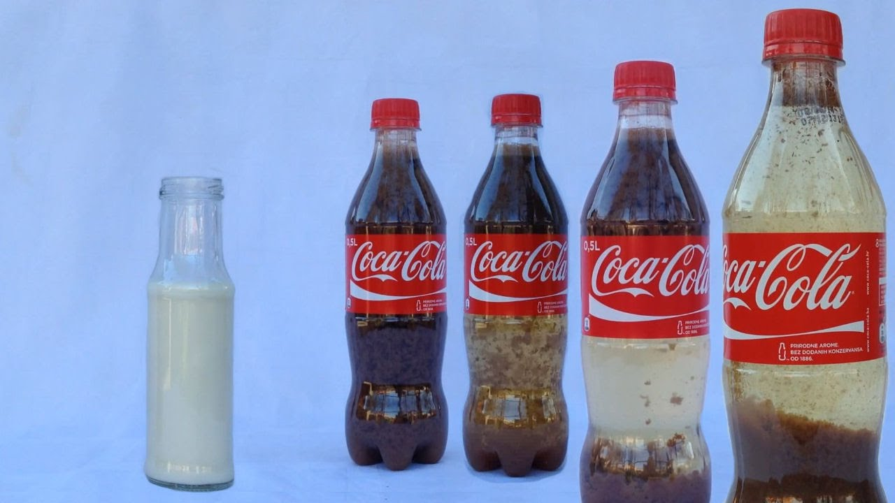 See what happens when you mix milk with coke!