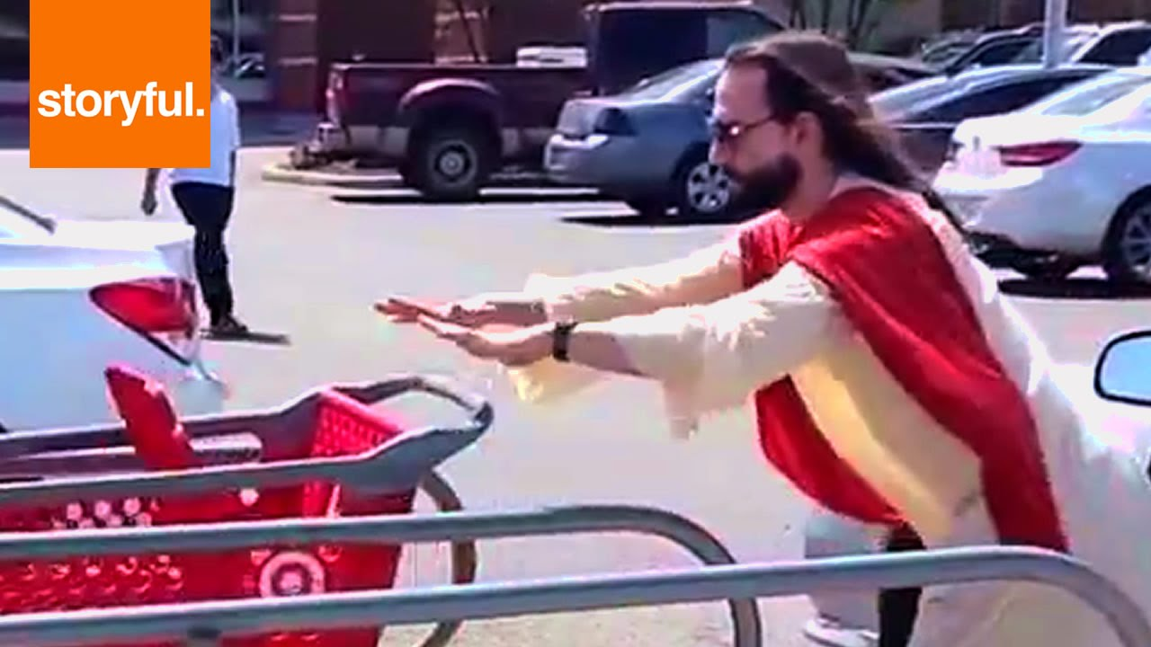 Jesus parking shopping carts