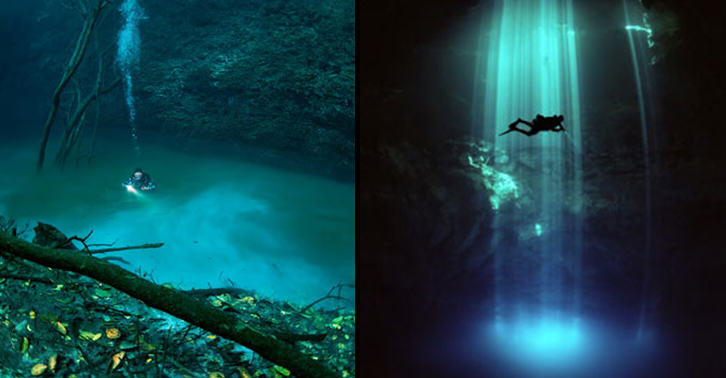 Diver Discovers Incredible Underwater River In Mexico