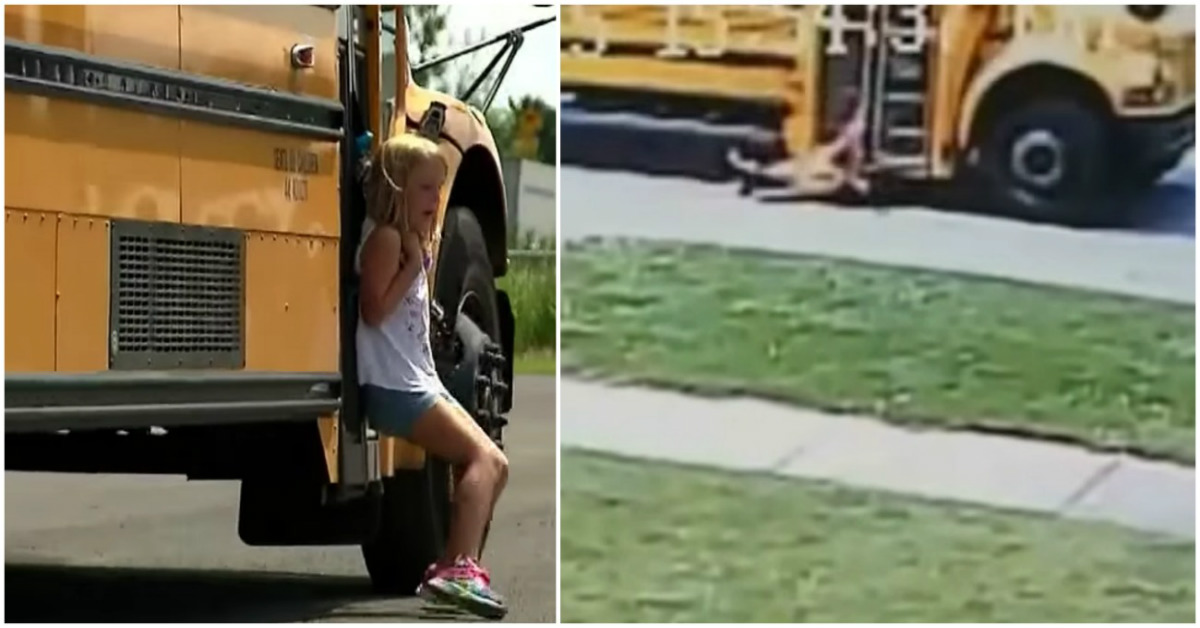 Surveillance Footage Captures 7-Year-Old Girl Trapped On Bus Door As Bus Driver Drives Away