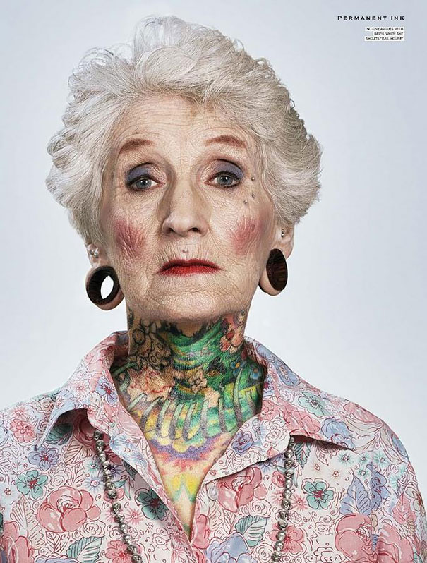elderly with tattoos
